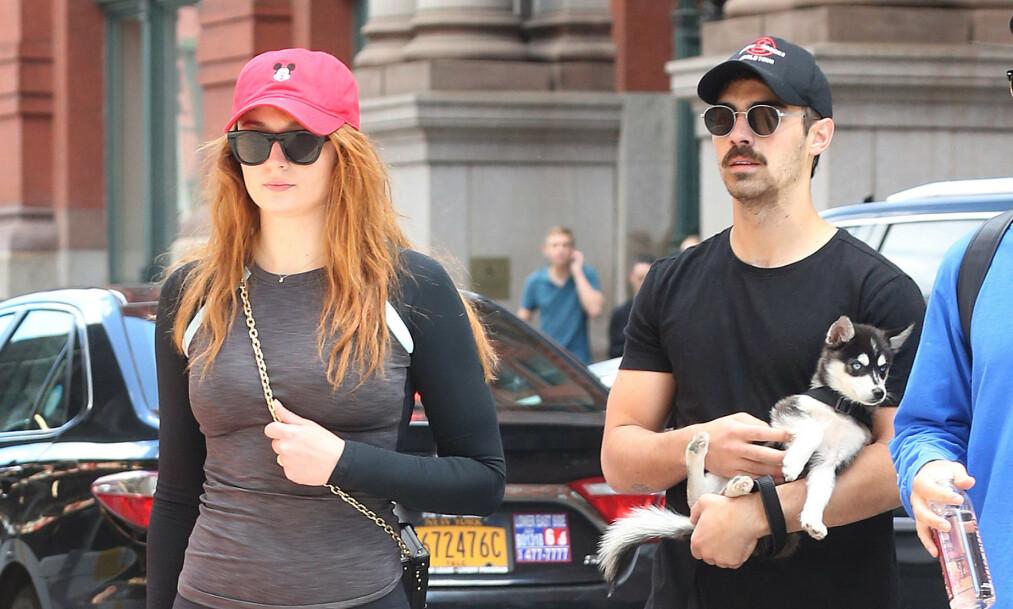 PÅ LUFTETUR: Joe Jonas og Sophie Turner opplevde alle hundeeieres store mareritt denne uka. Her er de på luftetur med den ene hunden deres i september 2017. Foto: NTB Scanpix