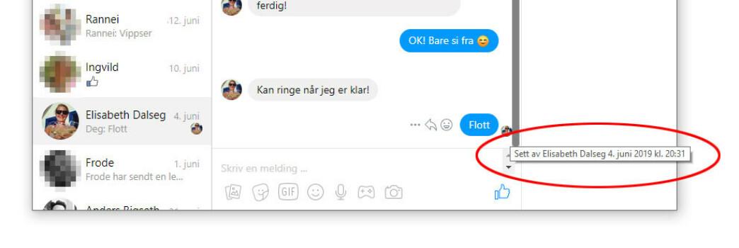 <strong>AVSLØRENDE:</strong> Messenger gir automatisk kvittering på at en melding er lest. Det er ikke mulig å endre i innstillingene, men denne utvidelsen til Chrome fikser biffen. (Skjermdump)