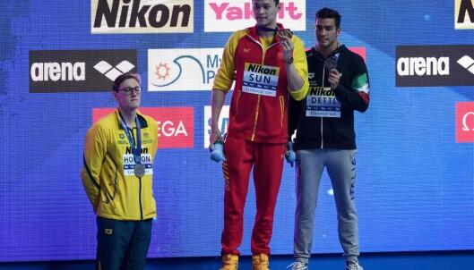 <strong>SKAPTE OPPSTANDELSE:</strong> Mack Horton tar tydelig avstand fra kinesiske Sun Yang, som har en dopingdom på samvittigheten. Foto: Ed JONES / AFP