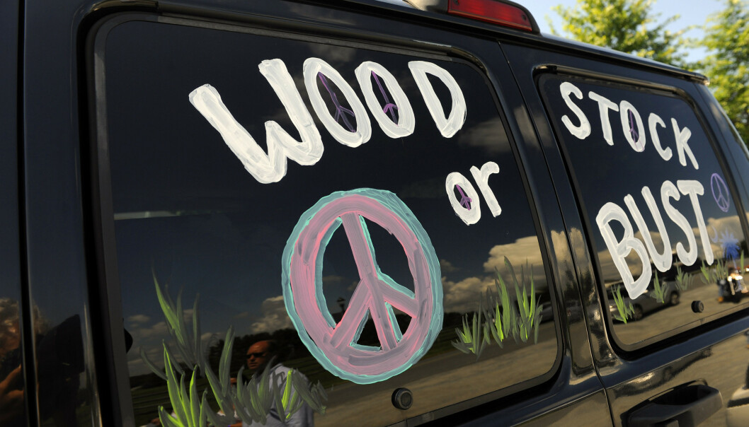 En bil med teksten «Woodstock or bust» i Bethel i den amerikanske delstaten New York i 2009. Illustrasjonsfoto: Stephen Chernin / AP / NTB scanpix