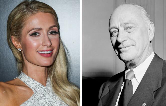 OLDEFAR: Paris Hiltons oldefar Conrad Hilton (t.h.) grunnla den i dag verdenskjente hotellkjeden. Navnet er hetet fra Kløfta i Norge, der Conrads far Augustus Halvorsen Hilton emigrerte fra til USA på 1800-tallet. FOTO: NTB Scanpix