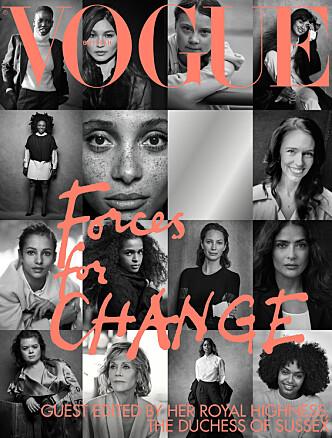 <strong>COVER:</strong> 15 sterke og engasjerte kvinner - som gjesteredaktør hertuginne Megan selv har plukket ut - pryder september 2019-utgaven av britiske Vogue. FOTO: Faksimile // Vogue