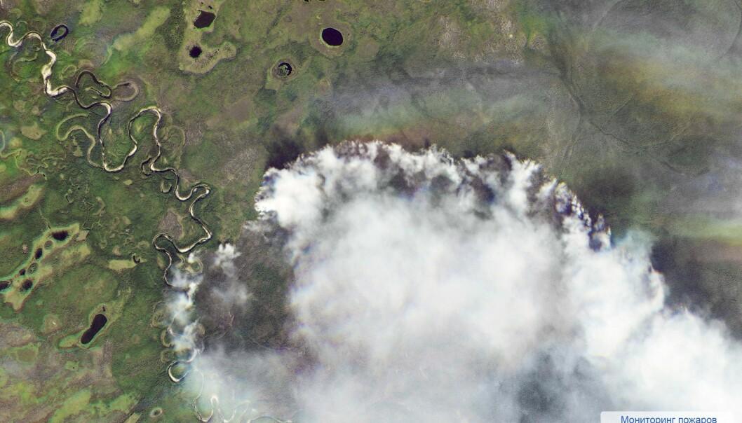 ENORME OMRÅDER: Dette satellittbildet er tatt av romfartsorganisasjonen Roscosmos, og viser enorme skogbranner som sprer seg i øde områder av Sibir. Foto: Roscosmos / AP / NTB Scanpix