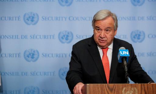 FNs generalsekretær, Antonio Guterres, talte til FNs sikkerhetsråd i New York City 1. august. Foto: Brendan McDermid / Reuters / NTB Scanpix