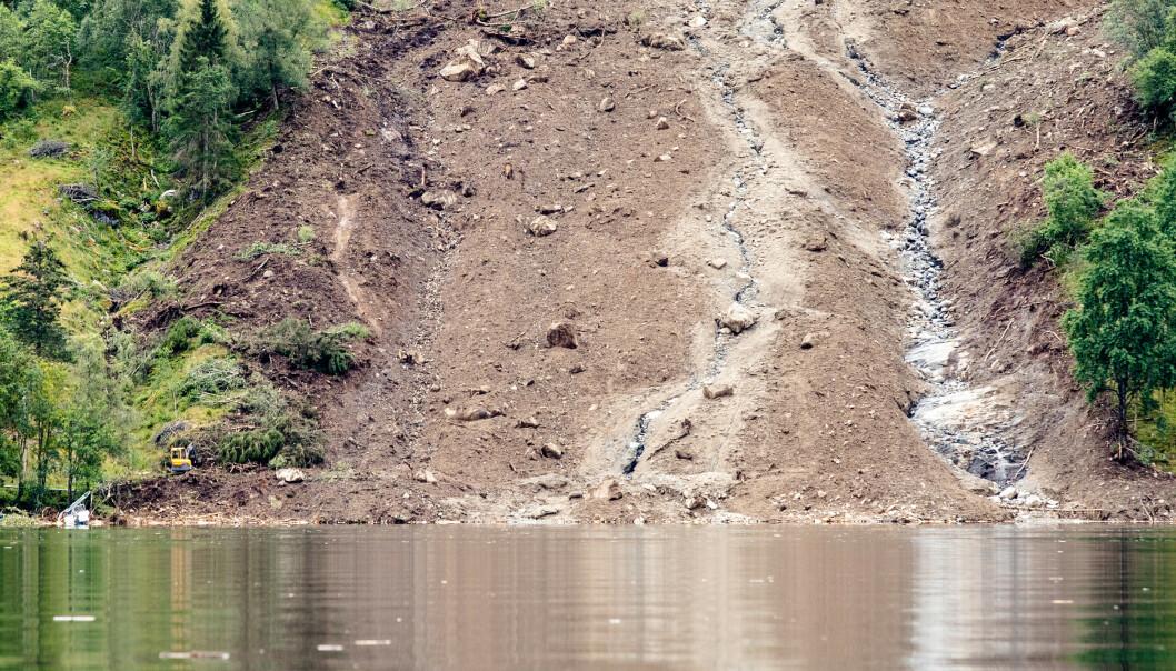 En mann er antatt omkommet etter at et flere hundre meter langt jordras som gikk over fylkesvei 451 ved Jølstravatnet i Jølster kommune i Sogn og Fjordane tirsdag. Foto: Audun Braastad / NTB scanpix