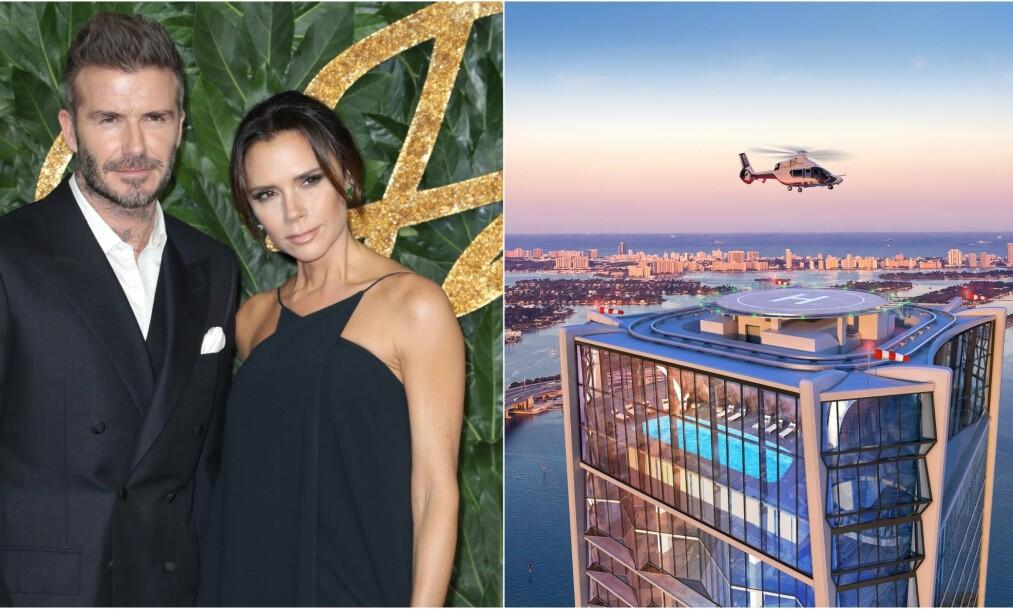 PUNGET UT: Stjerneparet David og Victoria Beckham har gått til innkjøp av en takleilighet i den eksklusive skyskraperen Scorpion i Miami. Ifølge den spanske avisen Marca er leiligheten den dyreste i hele verden. Foto: NTB Scanpix