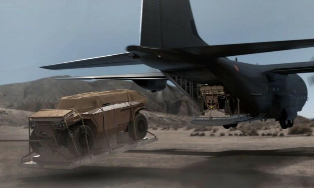 SLIPP FRA FLY: Bilen er bygget for å kunne tåle et slipp fra fly i lav høyde. Foto: Arquus