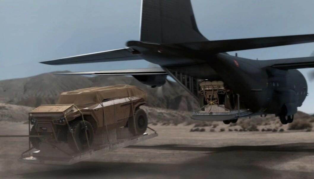 <strong>SLIPP FRA FLY:</strong> Bilen er bygget for å kunne tåle et slipp fra fly i lav høyde. Foto: Arquus