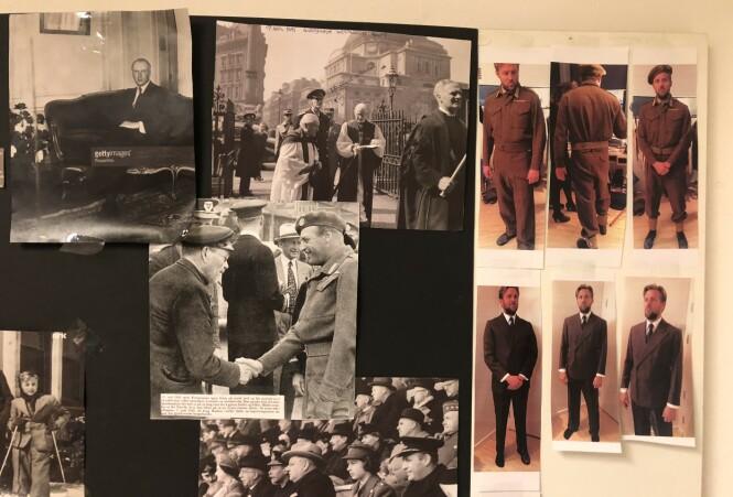 INSPRIASJON: Kostymedesigner Karen F. Gram hadde allerede sanket inn mye nyttig informasjon, da hun jobbet med «Kongens nei». Denne plansjen av Tobias Santelmann, som spiller kronprins Olav i «Atlantic Crossing», henger på kostymelageret i Praha. FOTO: Malini Gaare Bjørnstad