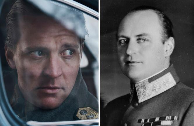 LIKE: - Ansiktet til kronprins Olav minner veldig om Tobias' ansikt, sier Karen Gram til KK. Bildet av Tobias Santelmann er fra «Atlantic Crossing», mens bildet av Olav er tatt rundt 1940. FOTO: NRK og NTB Scanpix
