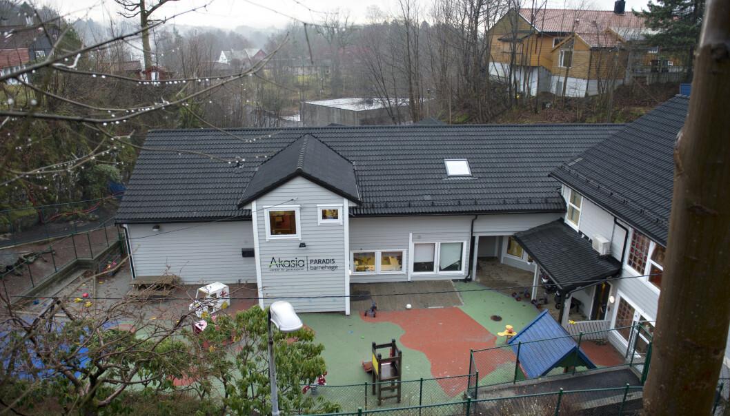 Ettåringen ble hengende fast i en stopp i denne barnehagen i Bergen. Foto: Marit Hommedal / NTB scanpix