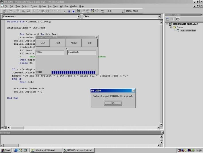 Denne skjermdumpen tok jeg i år 2000. Her kjører Visual Basic det som senere skulle bli Upload Terrorizer; ett av mange heller snodige prosjekter. 📸: Ole Petter Baugerød Stokke