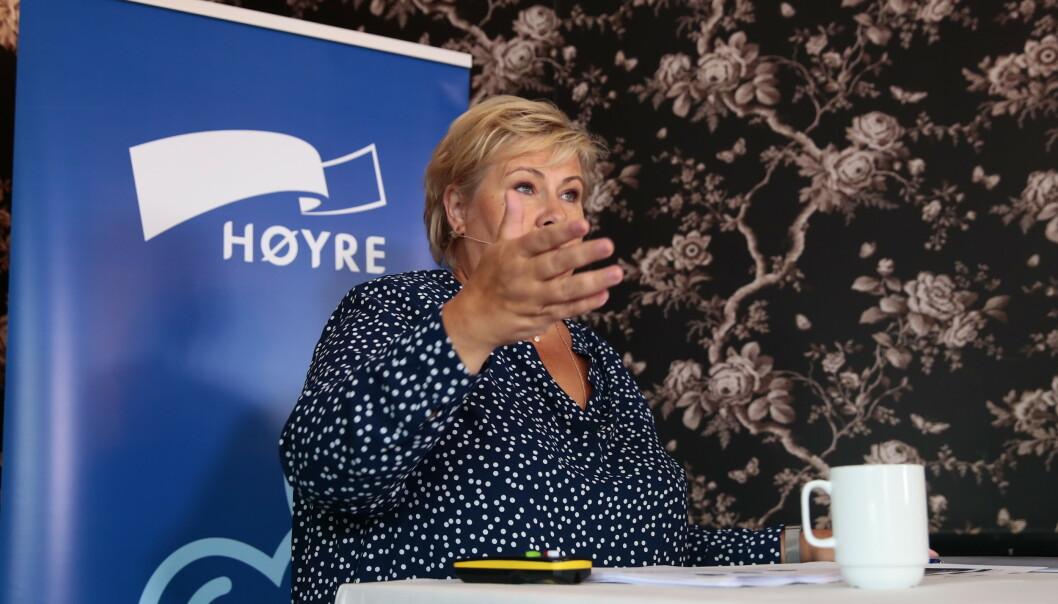 <strong>OMSTRIDT:</strong> - HRS får støtte for at også andre stemmer, utenfor det politisk korrekte, skal ha en mulighet til å komme fram i debatten, sier statsminister Erna Solberg (H). Foto: Håkon Mosvold Larsen / NTB scanpix