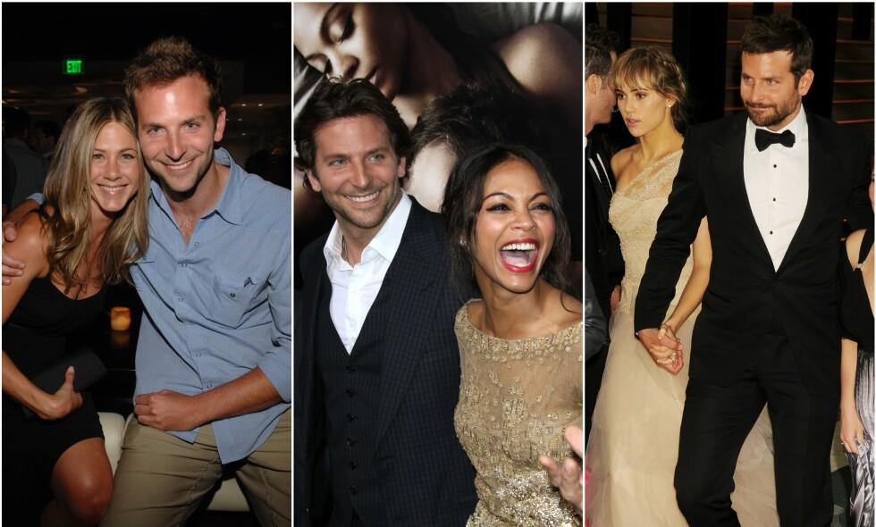 STORSJARMØR: Hollywood-stjernen Bradley Cooper har kapret hjertet til en rekke kjente ansikter opp gjennom årene. Skuespiller Jennifer Aniston, Zoë Saldaña og Suki Waterhouse er bare noen av dem. Foto: NTB Scanpix