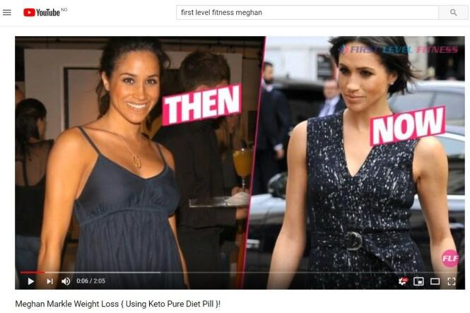 FALSK REKLAME: Hertuginne Meghan har aldri gitt uttrykk for at hun har brukt en spesiell diett eller piller for å gå ned i vekt. Hun har nå satt Buckingham Palace på saken, for å få stoppet den falske slankereklamen. FOTO: Faksimile fra YouTube