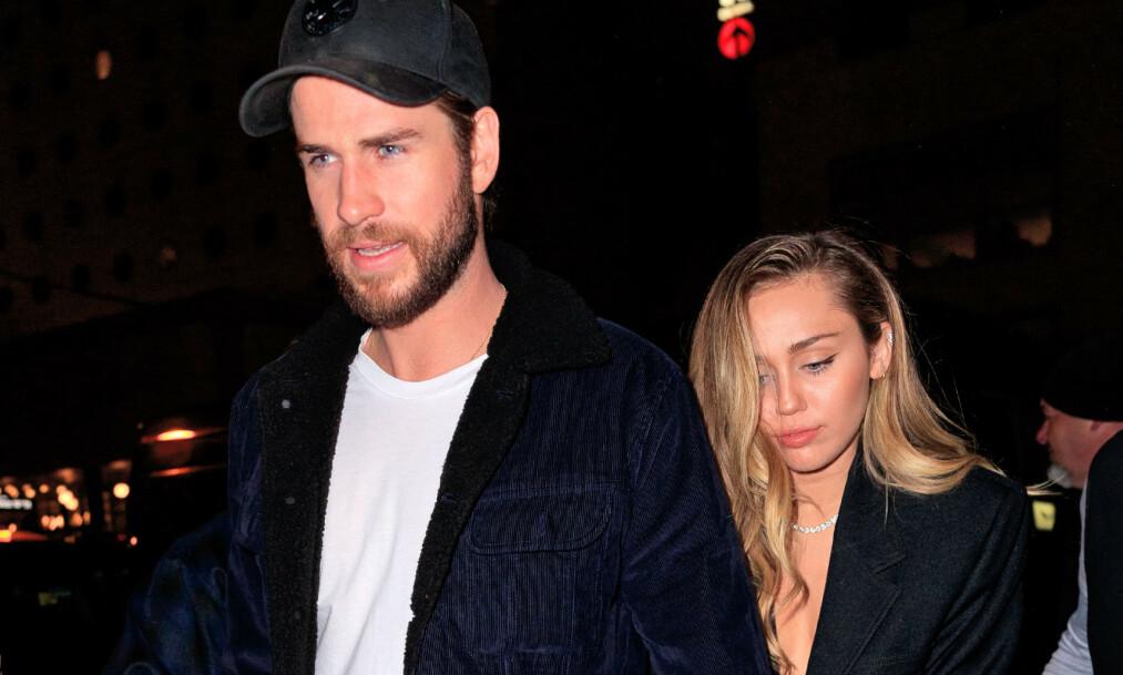 SJOKKBRUDD: I helgen kom den triste nyheten om at stjerneparet Miley Cyrus og Liam Hemsworth har besluttet å gå hver til sitt. Nå bryter sistnevnte tausheten med en kjærlig hilsen til sangstjernen på Instagram. Foto: NTB Scanpix