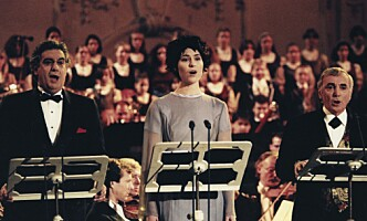 <strong>WIEN 1994:</strong> Sissel Kyrkjebø synger sammen med Placido Domingo og Charles Aznavour. Foto: Aleksander Nordahl