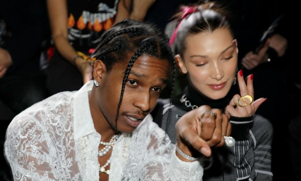 ENDELIG DOM: I dag har Stockholm tingrett avsagt sin dom mot rapperen Asap Rocky. Her er han avbildet sammen med modell Bella Hadid. Foto: NTB Scanpix