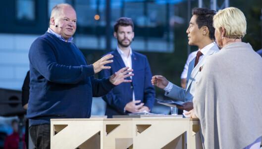 <strong>TORDNER:</strong> Trym Helge Aafløy, førstekandidat i Bergen raser mot Oslo-leder Her fra debatten med Siv Jensen mandag. Foto: Håkon Mosvold Larsen / NTB scanpix