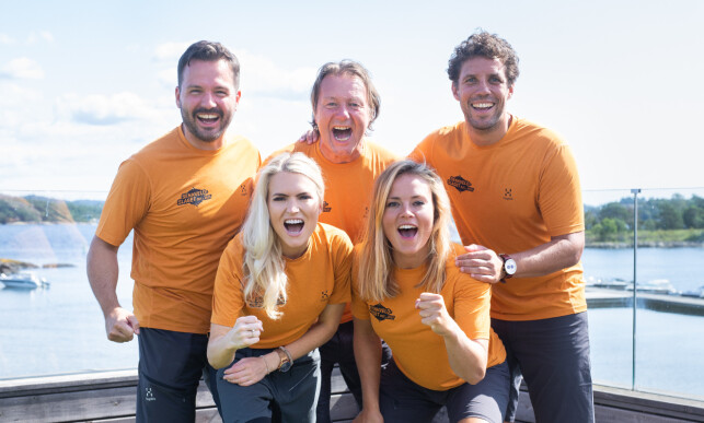 LAG ØST: Helene Olafsens lag består av deltakerne Svein Østvik (58), Isabelle Ringnes (30), Freddy Dos Santos (42) og Hasse Hope (33). Foto: Helene Kjærgaard Sviland/TV 2