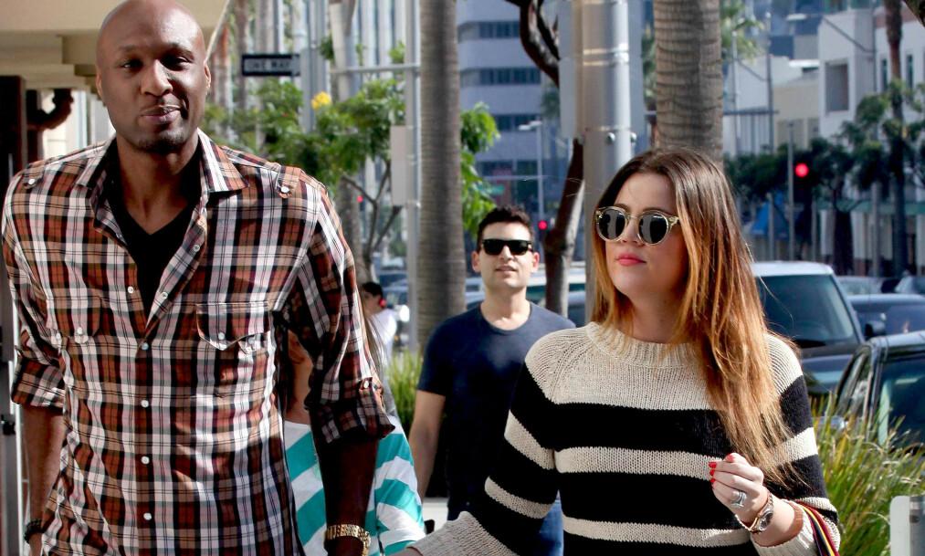 FUNNET KJÆRLIGHETEN PÅ NY: Khloé Kardashians eksmann, basketballstjernen Lamar Odom, har funnet kjærligheten og sier at han har kommet seg over ekskona. Her er duoen avbildet i 2011. Foto: NTB Scanpix