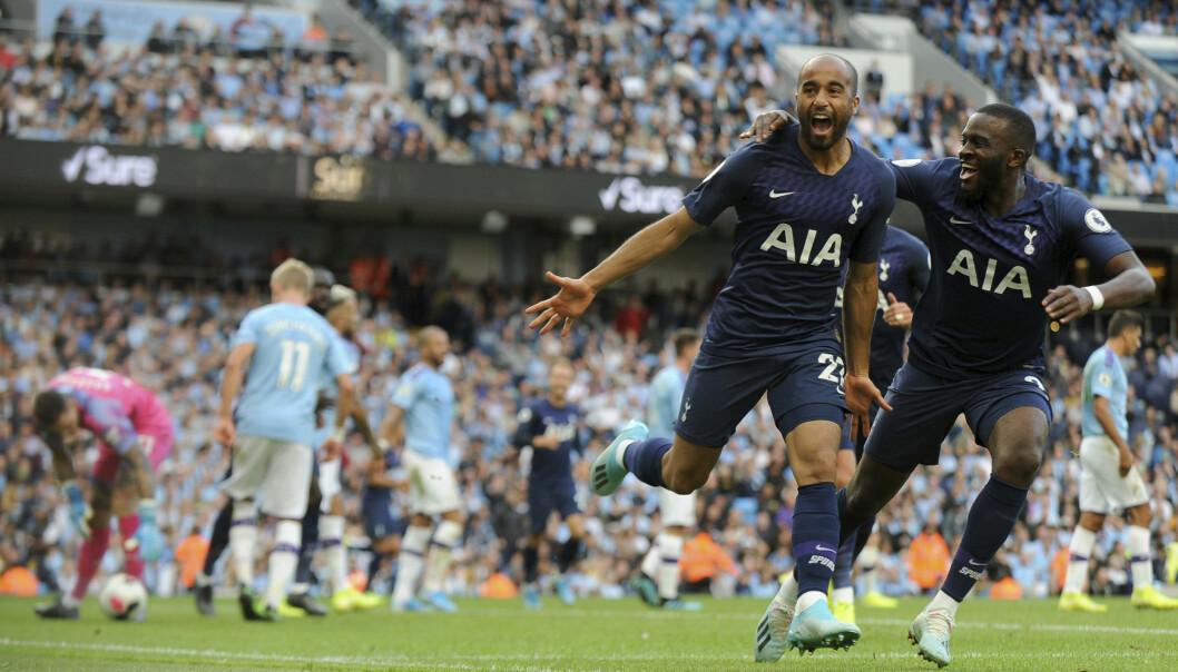 Lucas Moura headet inn 2-2 og berget poeng for Tottenham borte mot Manchester City. Foto: Rui Vieira / AP / NTB scanpix