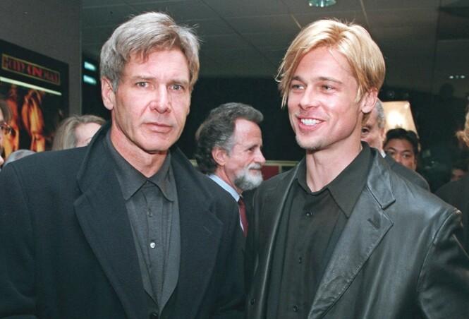 STOR KARRIERE: Brad Pitt har opp gjennom årene sørget for å bli en av Hollywoods største skuspillere. Det hadde han slett ikke trodd selv, sier han i intervjuet. Her er han avbildet med skuespiller Harrison Ford i 1997. Foto: NTB Scanpix