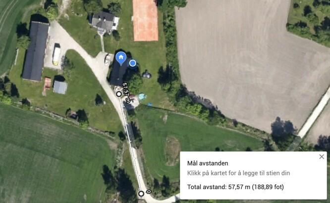 <strong>GOD REKKEVIDDE:</strong> Vi kom rundt 58 meter unna mobiltelefonen med fri sikt før signalet begynte å falle ut. Foto: Google Maps