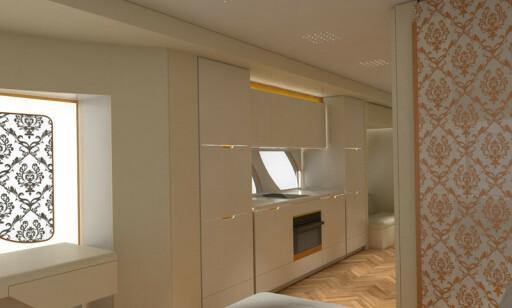 KJØKKEN: Isbitmaskin, kjøleskap, fryser og oppvaskmaskin er selvsagt på plass. Foto: Marchi Mobile