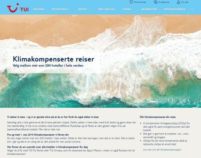 KOMPENSERER NOE, IKKE ALT: På Tuis nettside står det at det kun er deres egne fly som blir klimakompensert av reisebyrået. De tilbyr en rekke bærekraftsertifiserte hotell i tillegg. Foto: skjermdump.