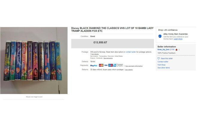 <strong>SVIMLENDE PRIS:</strong> For rundt 152 000 norske kroner var det en heldig kjøper (eller skal vi si selger!) som fikk tak i 10 VHS-kassetter med Disney-klassikere. FOTO: Skjermdump // eBay