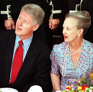 PÅ BESØK: Dronning Margrethe hadde i 1997 besøk av Bill Clinton. Foto: NTB scanpix