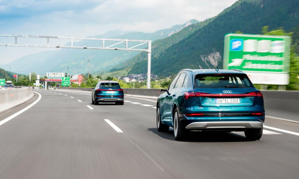 ELBIL-RACE: Toget med e-Tron-biler kjørte gjennom store deler av Europa. Foto: Audi