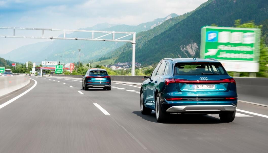 <strong>ELBIL-RACE:</strong> Toget med e-Tron-biler kjørte gjennom store deler av Europa. Foto: Audi