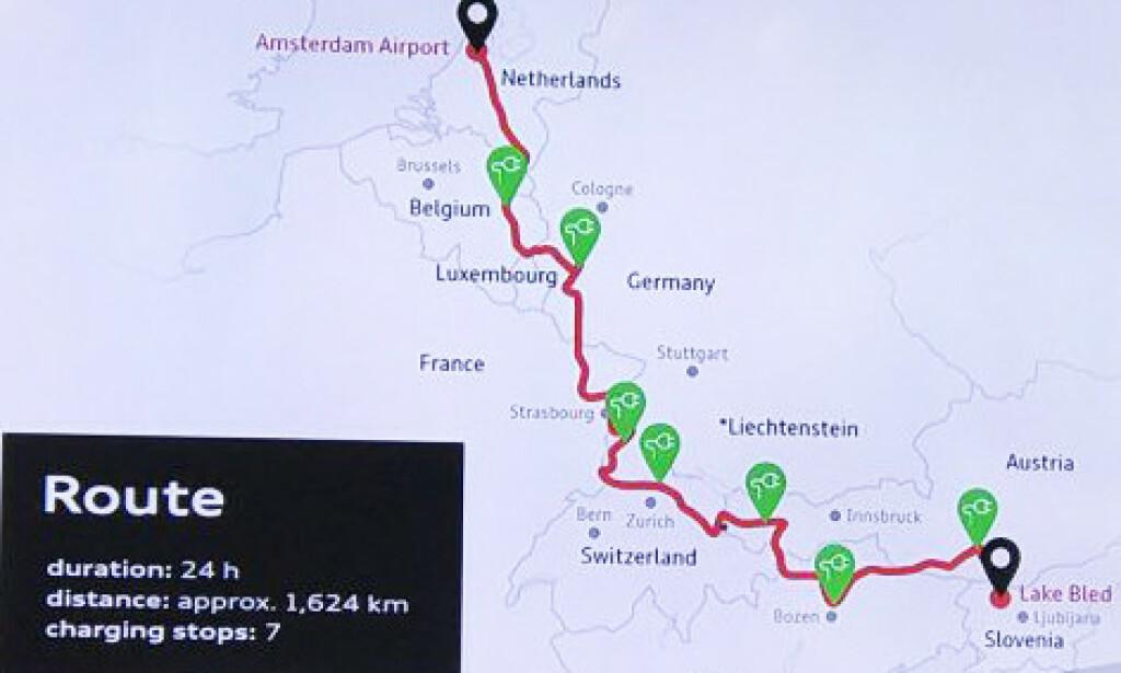 10 LAND PÅ 24 TIMER: Her er ruta som ble kjørt.