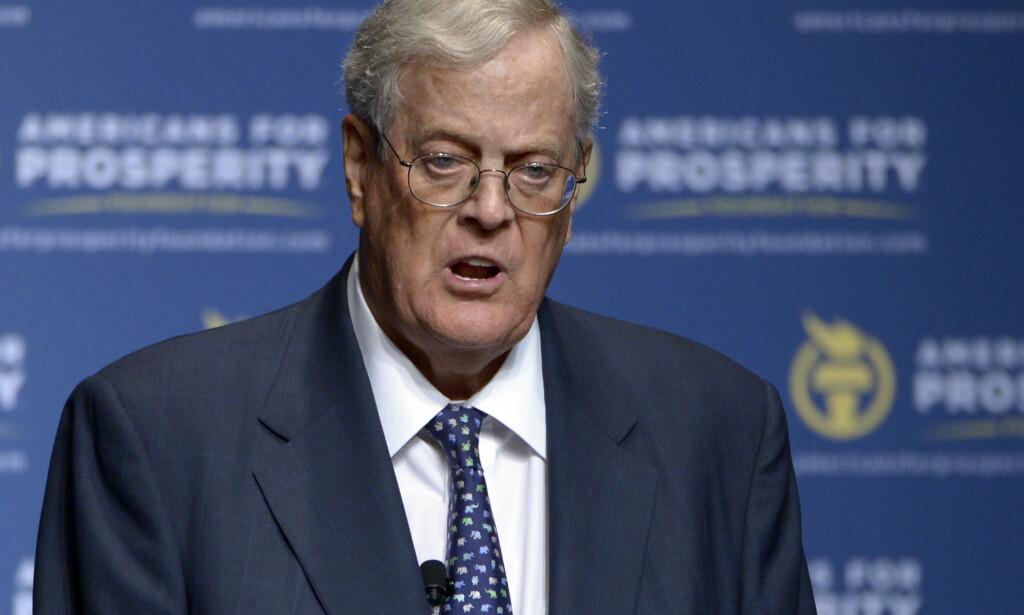 Filantrop og milliardær David Koch døde fredag, 79 år gammel. Foto: Phelan M. Ebenhack / AP / NTB scanpix