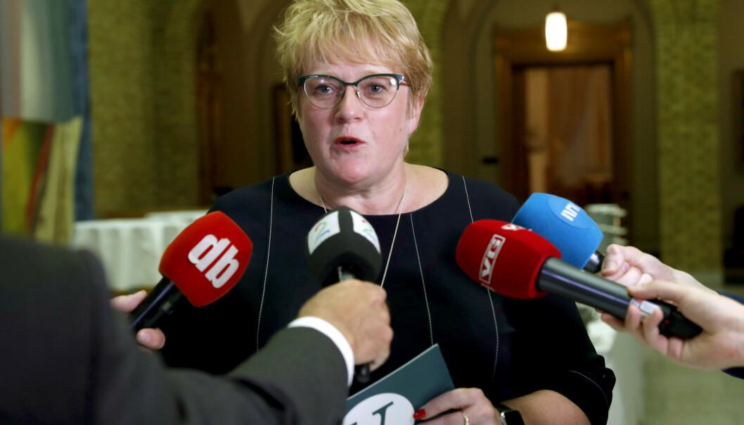 <strong>NY SPRÅKLOV:</strong> Kulturminister Trine Skei Grande (V) vil gi norsk bedre vern. Foto: Terje Bendiksby / NTB scanpix