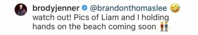 SVARTE: Brody Jenner var rask med å dra en spøk som svar til realitykollegaen. Foto: Skjermdump fra Instagram