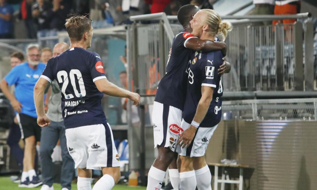 <strong>SCORET:</strong> Lars-Jørgen Salvesen ble matchvinner for Strømsgodset mot gamle lagkamerater. Foto: Terje Bendiksby / NTB scanpix