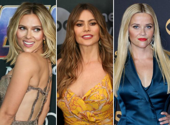 TOPP TRE: Scarlett Johansson, Sofia Vergara og Reese Witherspoon ler hele veien til banken! FOTO: Scanpix
