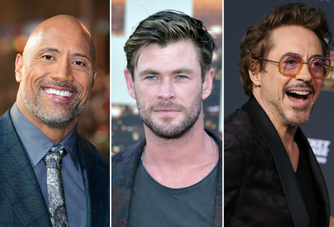 TOPPER LISTA: Dwayne Johnson, Chris Hemsworth og Robert Downey Jr. er de best betalte skuespillerne i verden. FOTO: Scanpix