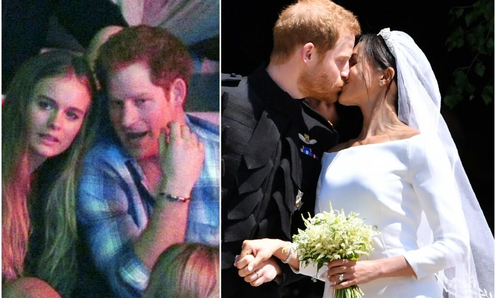 INVITERT: Harrys to ekser møtte opp i bryllupet hans i fjor. Nå inviteres hertugparet visstnok i bryllupet til Cressida Bonas (ytterst t.v.). Foto: NTB Scanpix
