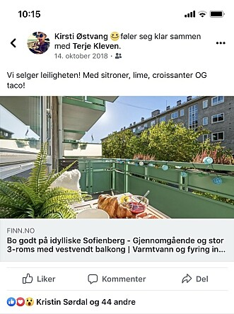<strong>DEL SELV:</strong> Det er helt gratis å lenke til boligannonsen din på egen Facebook-profil. Foto: skjemdump.