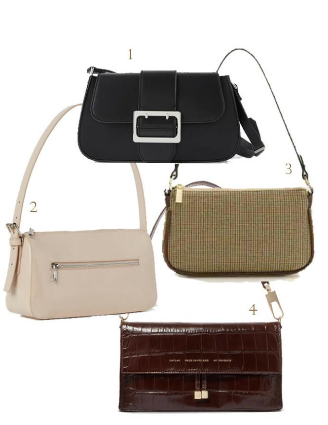 1. Zara, kr 300. 2. H&M, kr 150. 3. Mango, kr 300. 4. Chylak via Net-a-porter.com, kr 2965.