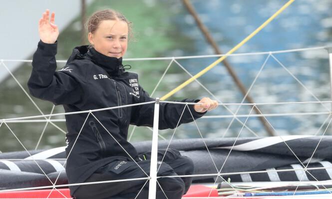 <strong>FORBILDE:</strong> Greta Thunberg har uten tvil bidratt til en global bevisstgjøring hva gjelder klima og miljø. Her om bord på seilbåten Malizia II i august. FOTO: NTB Scanpix