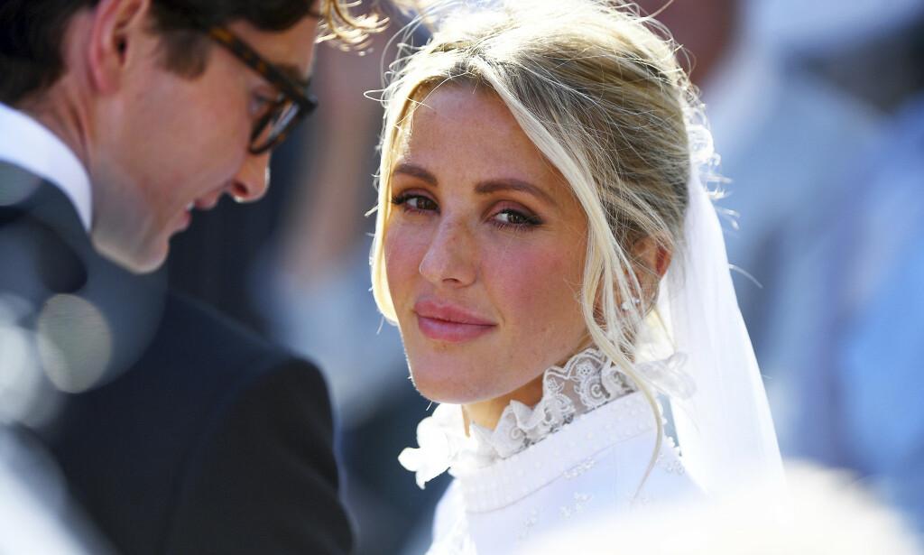 GIFT: Artist Ellie Goulding giftet seg denne helgen med kjæresten Caspar Jopling i et storslått bryllup i katedralen av York. Foto: NTB Scanpix
