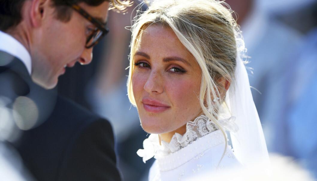 <strong>GIFT:</strong> Artist Ellie Goulding giftet seg denne helgen med kjæresten Caspar Jopling i et storslått bryllup i katedralen av York. Foto: NTB Scanpix