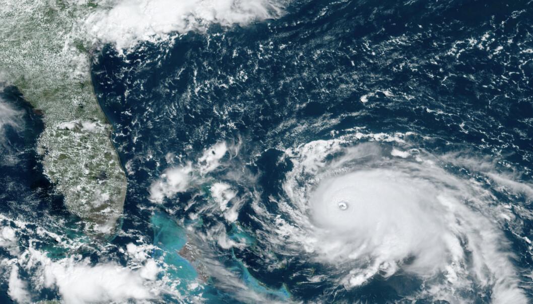 Orkanen Dorian er blitt en kategori 5-orkan mens den raser mot Bahamas og senere USAs østkyst. Foto: NOAA via AP / NTB scanpix
