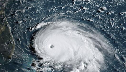 <strong>STORMENS ØYE:</strong> Satellittbildet viser orkanen Dorian da den nærmet seg Bahamas og Florida klokka 14 søndag norsk tid. Foto: Ho / AFP / NTB Scanpix