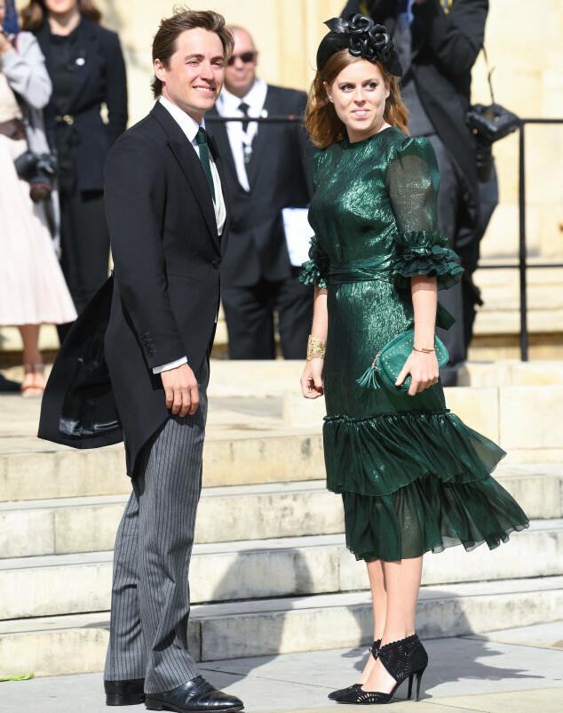 <strong>KONGELIGE GJESTER:</strong> Prinsesse Beatrice og kjæresten Edoardo Mapelli Mozzi var selvskrevne gjester. Foto: NTB Scanpix
